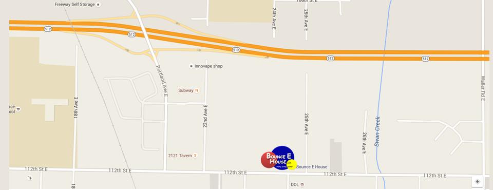 Map to Bounce E House Tacoma
